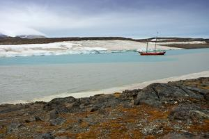Arctic, Svalbard, Wilhelmoya. a Schooner Anchors in a Remote Fjord on the East Coast of Spitsbergen by David Slater