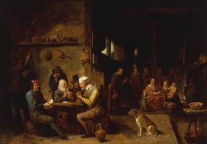 A Farmhouse Interior with Peasants at a Table Playing Cards by David Teniers the Younger