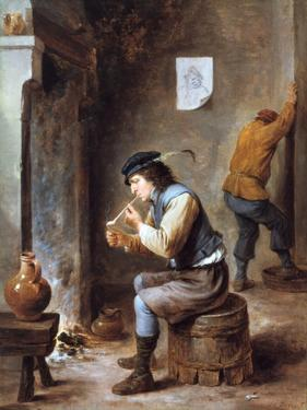 Smoker in Front of a Fire, 17th Century by David Teniers the Younger