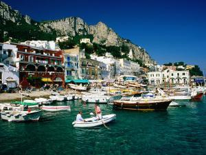 Boats in Marina Grande Harbour, Capri, Campania, Italy by David Tomlinson