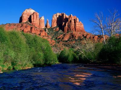 Cathedral Rock Above Oak Creek at Red River Crossing, Sedona, Arizona