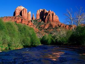 Cathedral Rock Above Oak Creek at Red River Crossing, Sedona, Arizona by David Tomlinson
