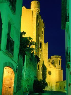 Church and Castle of Sant Marti Illuminated at Night, Altafulla, Tarragona, Catalonia, Spain by David Tomlinson