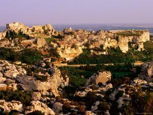 Citadel Rocks and Township in Evening, les Baux de Provence, Provence-Alpes-Cote d'Azur, France by David Tomlinson
