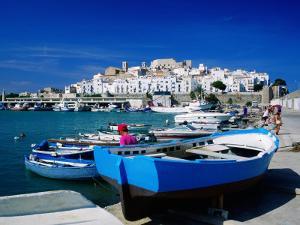 Harbour Boats with Citadel in Background, Castellon de la Plana, Valencia, Spain by David Tomlinson
