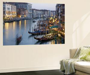 Outlook from Ponte Di Rialto Along Grand Canal at Dusk by David Tomlinson
