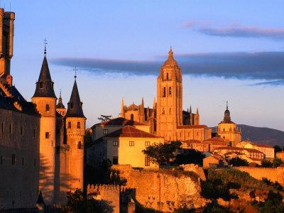 The Cathedral of Segovia from a Hillside at Sunset, Segovia, Castilla-Y Leon, Spain