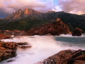The Harbour and Genoese Tower with Capo d'Orto Beyond, Porto, Corsica, France by David Tomlinson