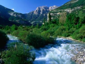 The River Ara and Mondarruego in the Pyrenees, Torla, Aragon, Spain by David Tomlinson