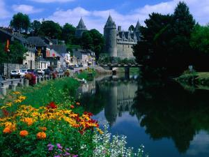 The River Oust and Castle, Josselin, Brittany, France by David Tomlinson