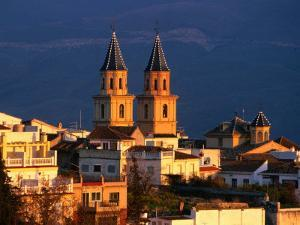 Twin Spires of Town Church, Orgiva, Andalucia, Spain by David Tomlinson