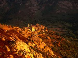 Village at Sunset, Montemaggiore, Corsica, France by David Tomlinson