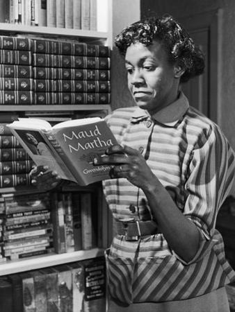 Poet Gwendolyn Brooks with Copy of Maud Martha, in 1963