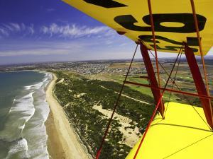 Aerial View of Coastline Near Torquay from Tiger Moth Biplane, with Plane Wing in Foreground by David Wall
