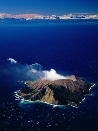 Aerial View of White or Whakaari Island, in Bay of Plenty, New Zealand by David Wall