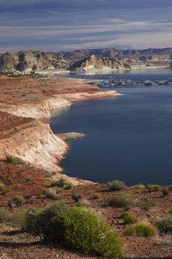 Arizona, Lake Powell at Wahweap, Far Shoreline Is in Utah by David Wall