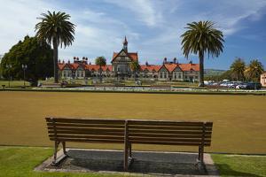 Bath House (Rotorua Museum), and bowling greens, Government Gardens, Rotorua, N Island, New Zealand by David Wall