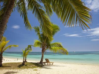 Beach and Lounger, Plantation Island Resort, Malolo Lailai Island, Mamanuca Islands, Fiji by David Wall