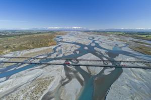Bridges across Rakaia River, Rakaia, and Southern Alps, Mid Canterbury, South Island, New Zealand by David Wall