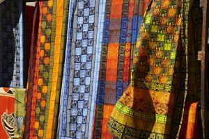 Cloth stall, African curio market, Greenmarket Square (1696), Cape Town, South Africa. by David Wall