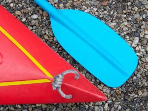 Detail of Red Kayak and Blue Paddle by David Wall