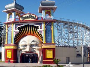 Entrance Gate to Luna Park, St Kilda, Melbourne, Victoria, Australia by David Wall