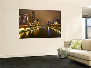 Eureka Tower and Yarra River at Night, Southbank, Melbourne, Victoria, Australia by David Wall