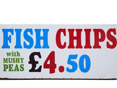 Fish and Chips with Mushy Peas Sign, England, United Kingdom by David Wall