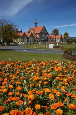 Flower beds and Bath House (Rotorua Museum), Government Gardens, Rotorua, North Island, New Zealand by David Wall