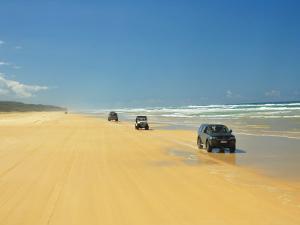 Four Wheel Drives, Seventy Five Mile Beach, Fraser Island, Queensland, Australia by David Wall