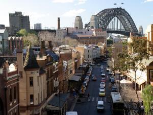 Historic Buildings and Sydney Harbor Bridge, The Rocks, Australia by David Wall