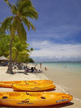 Kayaks and Beach, Shangri-La Fijian Resort, Yanuca Island, Coral Coast, Viti Levu, Fiji by David Wall