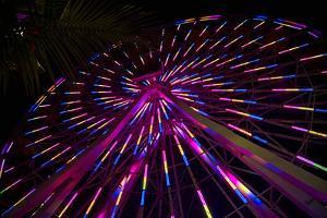 Los Angeles, Santa Monica, Cityview and Ferris Wheel at Night by David Wall
