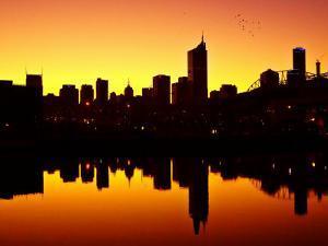 Melbourne CBD and Telstra Dome at Dawn, Victoria, Australia by David Wall