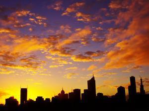 Melbourne CBD at Dawn, Victoria, Australia by David Wall