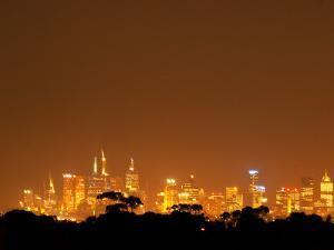 Melbourne CBD at Night, Victoria, Australia by David Wall