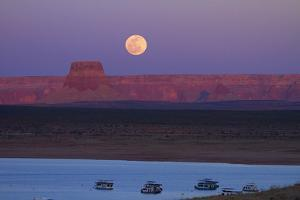 Moon Rising over Tower Butte. Arizona, Lake Powell and Houseboats by David Wall