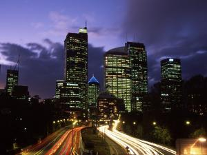 Motorway and Sydney CBD, Sydney, Australia by David Wall