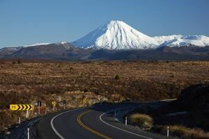 Mt Ngauruhoe and Desert Road, Tongariro National Park, Central Plateau, North Island, New Zealand by David Wall