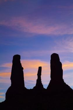 Navajo Nation, Monument Valley, Sunset over the Three Sisters Spires by David Wall