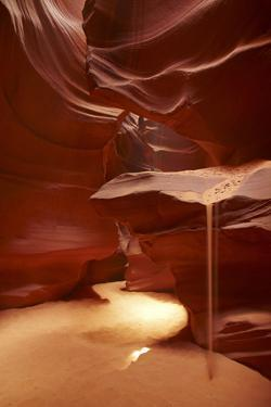 Navajo Nation, Sand Pouring over Eroded Sandstone, Antelope Canyon by David Wall