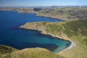 Ohau Bay, Te Ikaamaru Bay, Makara Wind Farm, North Island, New Zealand by David Wall