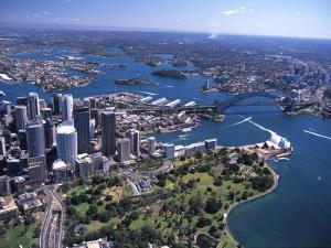 Opera House and Sydney Harbor Bridge, Australia by David Wall