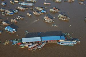 Restaurant, Chong Kneas Floating Village, Tonle Sap Lake, Near Siem Reap, Cambodia by David Wall