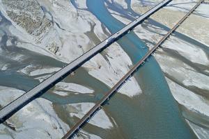 Road and rail bridges across Rakaia River, Rakaia, Mid Canterbury, South Island, New Zealand by David Wall
