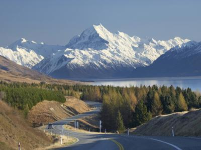 Road to Aoraki Mount Cook, Mackenzie Country, South Canterbury, South Island, New Zealand by David Wall