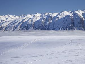 Roundhill Ski Area with Lake Tekapo and Hall Range, Mackenzie Country, South Island, New Zealand by David Wall