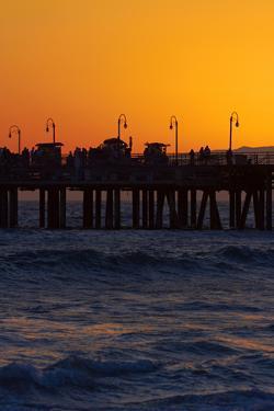 Santa Monica Pier at Sunset, Santa Monica, Los Angeles, California by David Wall