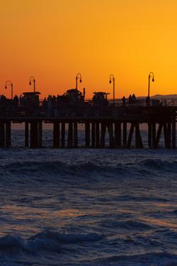 Santa Monica Pier at Sunset, Santa Monica, Los Angeles, California by David Wall