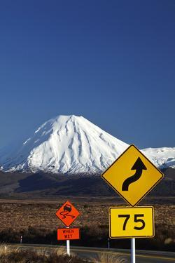 Signs on Desert Road, Mt. Ngauruhoe, Tongariro NP, Central Plateau, N Isl, New Zealand by David Wall